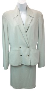 Mugler MUGLER LIGHT GREEN WOOL BLEND SKIRT SUIT 40