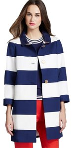 Kate Spade Striped Gold Hardware Red Lining Nautical Bow Peter Pan 3/4 Sleeves Button Front Pea Coat