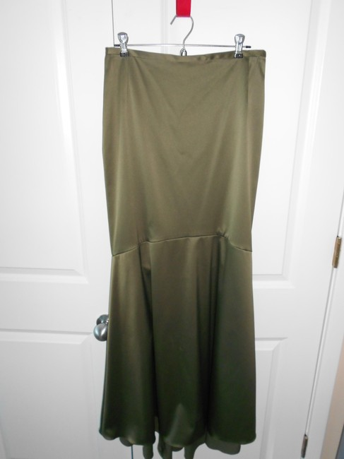 MOSS GREEN Maxi Dress by Cache Mermaid Skirt Polyster Spandex Polished Cotton