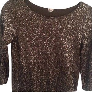 J.Crew Glitter Sequin Holiday Party Top Olive Green