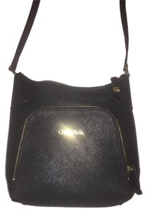Calvin Klein Saffiano Leather Black Gold Hardware Cross Body Bag