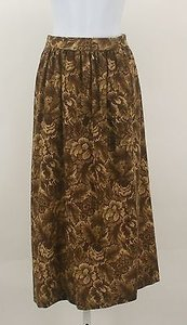 Anne Klein Floral Two Pocket Gathered B50 Skirt Brown, Yellow