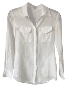 Aritzia Tbabaton Shirt Ramie Button Down Shirt White