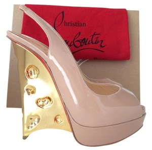 2d0e7f2a7a Christian Louboutin Pigalle Pigalle Follies Pink Patent Leather Madame  Mousey Patent NUDE/GOLD Platforms