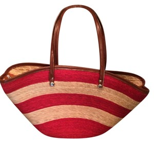 Other Beach Tote Flirt Spring Tote Striped Straw/Red Beach Bag