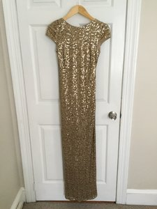 Badgley Mischka Champagne Sequin Hottest Must-have Gown Formal Bridesmaid/Mob Dress Size 4 (S)