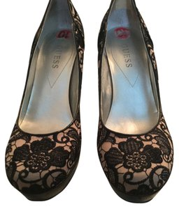 Guess Stilettos Lace Black/Tan Platforms