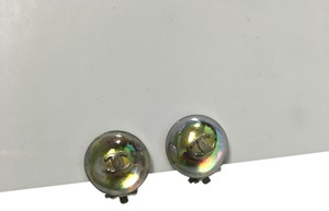 Chanel Chanel #3125 stud CC iridescent glass resin silver Earrings Clip On Clip-On Clipon