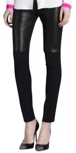 MILLY Leather Bri Lambskin Front Skinny Pants Black