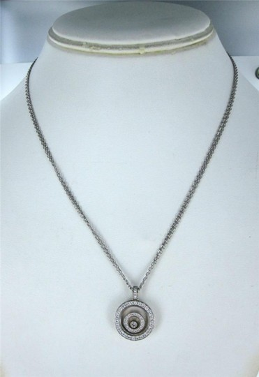 chopard Happy Spirit CHOPARD 18KT White Gold Necklace Floating Diamond Pendant for sale . Image 2