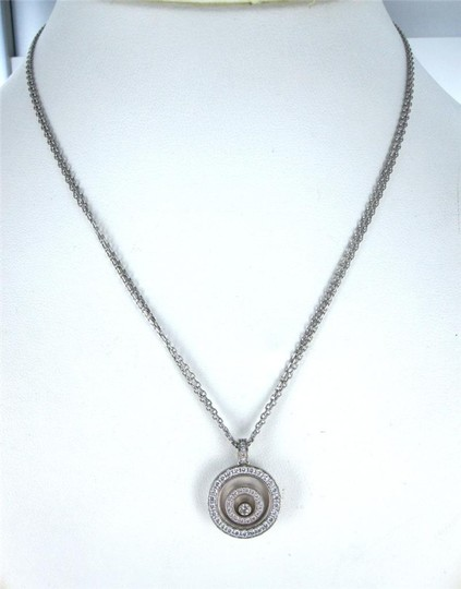 chopard Happy Spirit CHOPARD 18KT White Gold Necklace Floating Diamond Pendant for sale . Image 3
