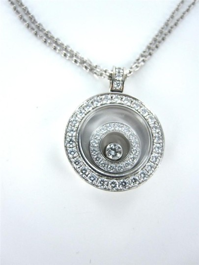 chopard Happy Spirit CHOPARD 18KT White Gold Necklace Floating Diamond Pendant for sale . Image 4