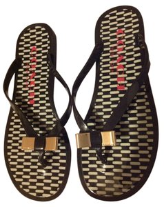 Coach Black Flip 5 Gold Bow Sandals