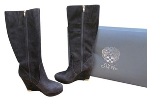 Vince Camuto Wedge Suede Knee High Fudge Brownie Boots