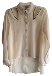 Unknown Top Cream with gold embellishments