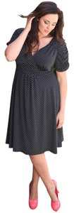 Kiyonna Plus-size Rockabilly Retro Vintage Inspired Trendy Full Skirt Empire Waist Ruched Sleeves Polka Lined Classic Chic Dress