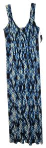 Black/Blue/White Multi Maxi Dress by Ralph Lauren Stretchy Material Could Fit Sz 12