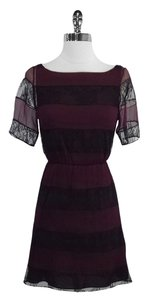 Alice + Olivia short dress Maroon Black Lace Striped on Tradesy