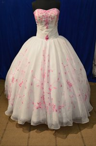 DaVinci Bridal White/Fuchsia Organza Formal Wedding Dress Size 14 (L)