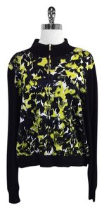 St. John Black Yellow Print Sweater