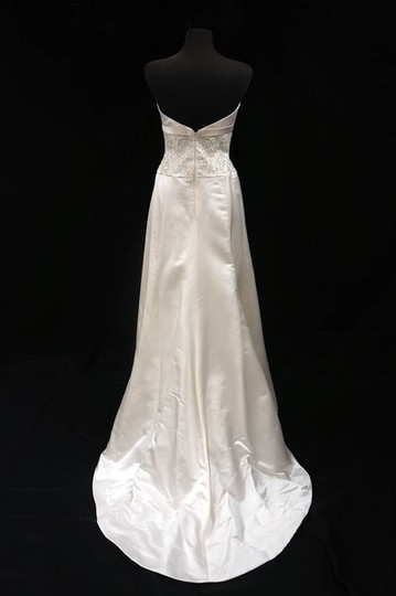 Anne Barge Ivory Silk Satin/Tulle Gown with Antique On Bodice Wedding Dress Size 8 (M)