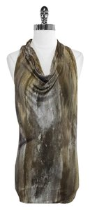 Helmut Lang Taupe & Grey Print Sleeveless Top