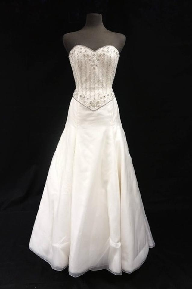 Anne Barge Ivory Silk Organza Gown with Beaded Bodice Wedding Dress ...