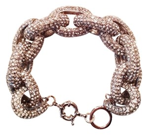 Boutique Silver Pave Link Statement Bracelet