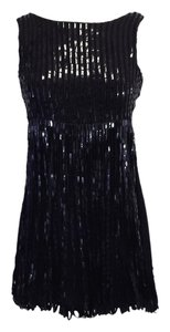 Alice + Olivia Black Sequin Silk Dress