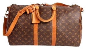 Louis Vuitton Bandouliere Keepall 45 Vintage Leather Travel Luggage Duffle Brown Travel Bag