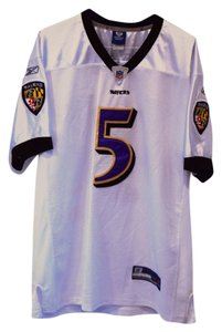 Reebok Joe Flacco #5 Baltimore Ravens White Reebok Football NFL Jersey Men's Large