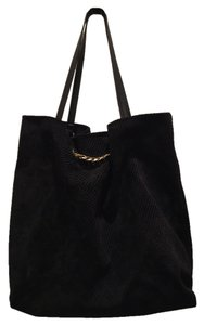Lanvin Suede Quilted Chain Fall Tote in Black