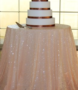 SML Sport Peach Sequin 108 Round Tablecloth