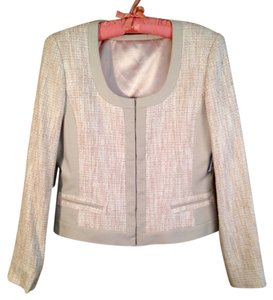 Tahari Linen Satin Textured Cream Neutral Blazer