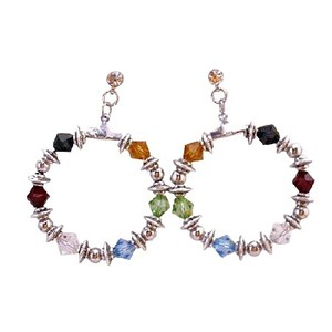 Multicolor Salvation Jet Siam Red Topaz Peridot Aquamarine Clear Crystal Earrings