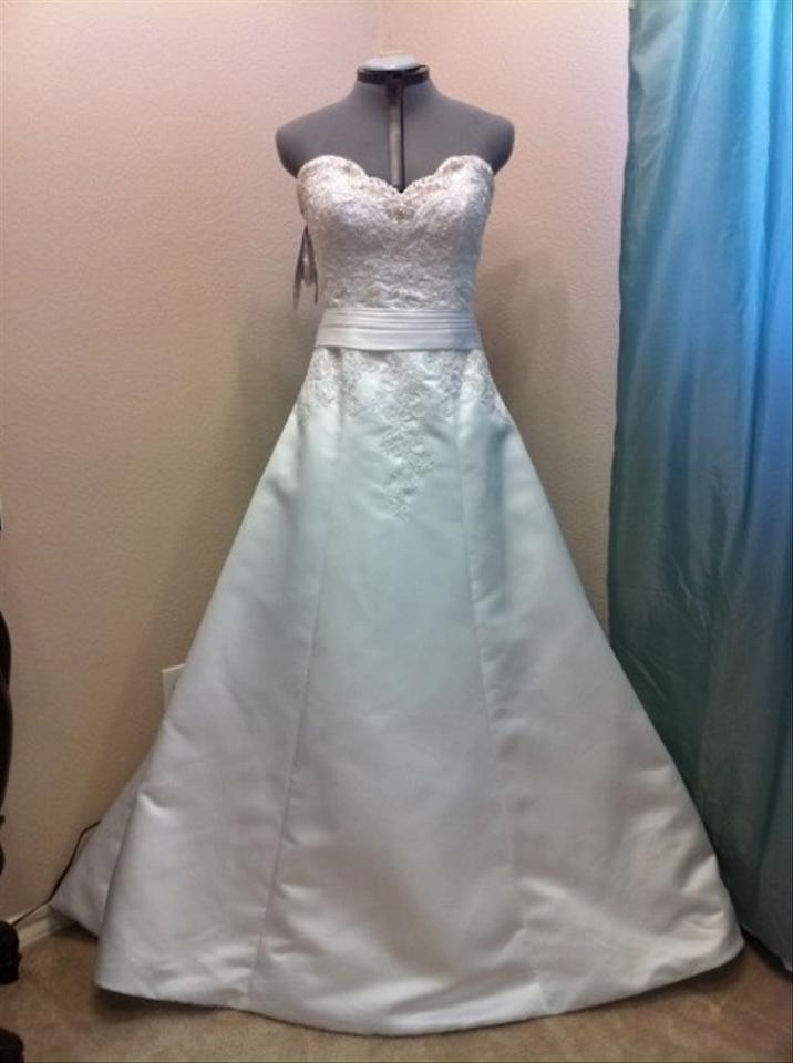 Alfred Angelo White 2093...the Sash Is Not Red Wedding Dress Size 4 ...