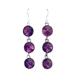 Purple/Amethyst Crystals Faceted Round Beads Sterling Silver Earrings