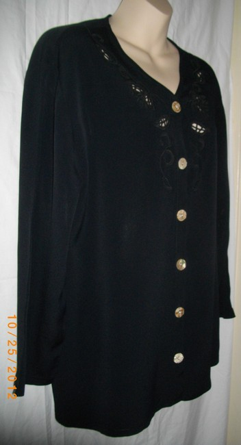 Laundry by Shelli Segal Flowers Cut Work Long Sleeves Formal Top Black