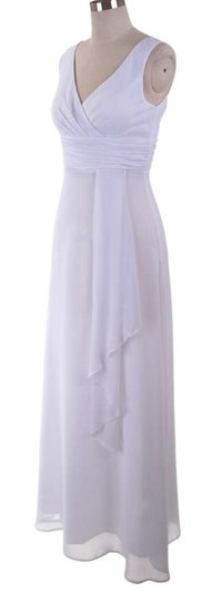 White Chiffon Long Draping V-neck Destination Wedding Dress Size 12 (L)