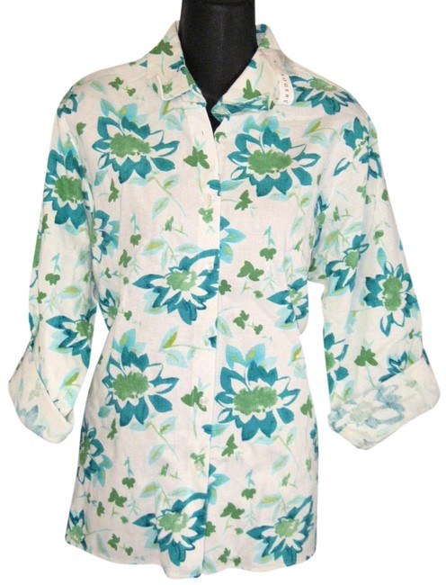 Preload https://item4.tradesy.com/images/kim-rogers-white-green-multi-pl-linen-cotton-by-ret-large-mach-wash-blouse-size-petite-14-l-714983-0-0.jpg?width=400&height=650