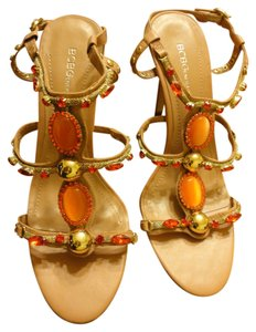BCBGeneration Jeweled Heels Nude Nude, Orange & Gold Sandals