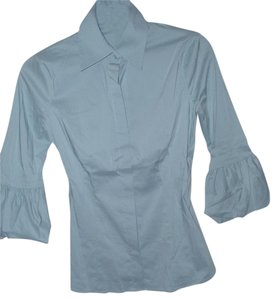 BCBGMAXAZRIA Tailored Blouse Pastel Ruffle Button Down Shirt Blue