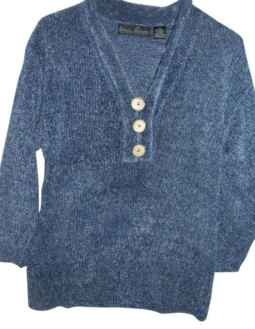 Preload https://item4.tradesy.com/images/blue-long-knit-chenille-henley-vintage-wood-silver-metallic-threads-sweaterpullover-size-8-m-715073-0-2.jpg?width=400&height=650