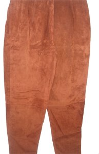 Lana Moto Motorcycle Suede Leather Slouchy Khaki/Chino Pants rust