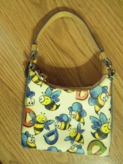 Dooney & Bourke Wristlet in cream with yellow, black & blue Bees, with red and