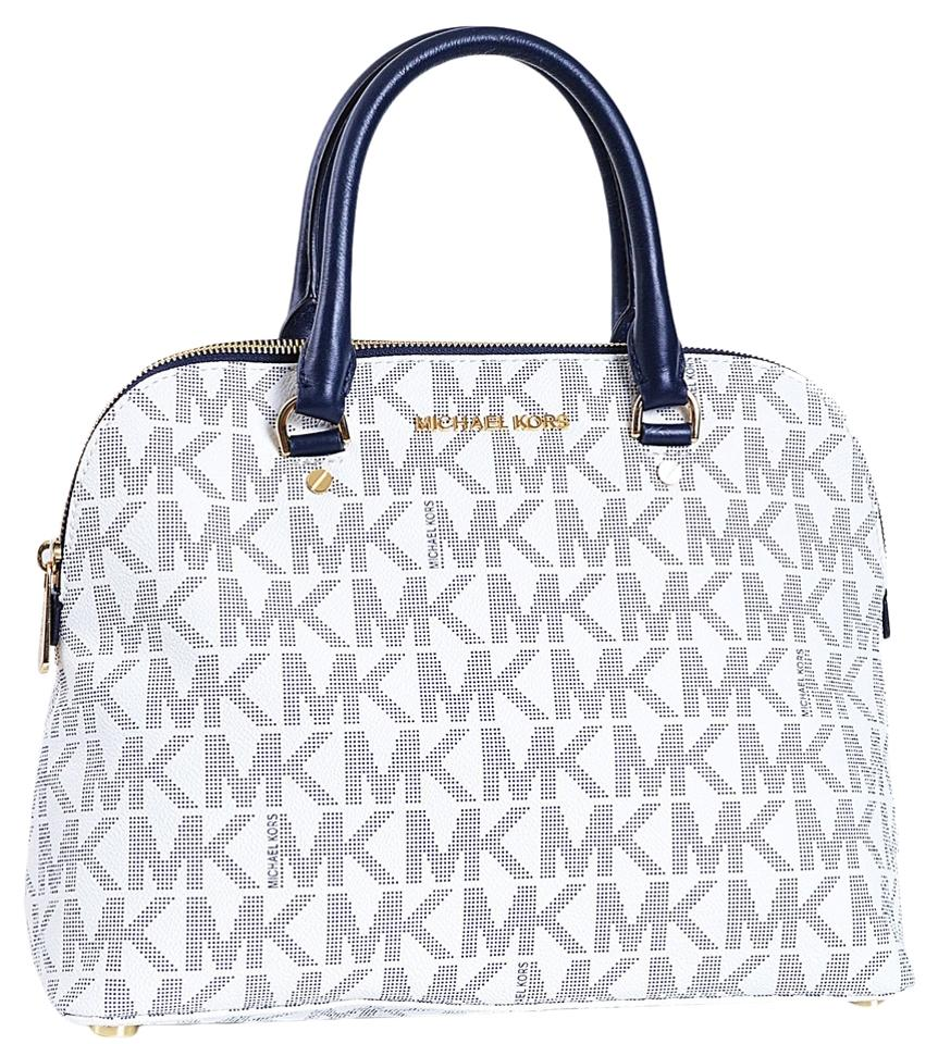 b66f553cf547 Michael Kors 30s5gcps3b Cindy Dome Cindy Mk Kor Logo Pvc Blue Satchel in  Navy White ...
