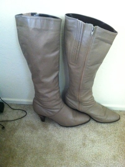 Cobbies Taupe Beige Leather Vintage High Heel Heel Long Beige Taupe Boots