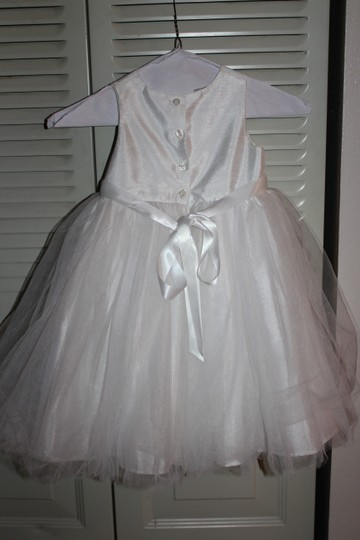 David's Bridal White Shantung Tank Dress with Full Tulle Skirt