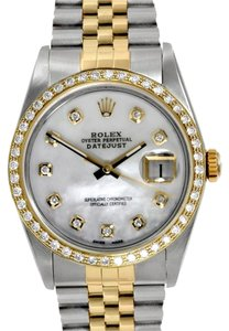 Rolex ROLEX DATEJUST 18K GOLD AND STEEL CUSTOM DIAMOND MEN'S WATCH