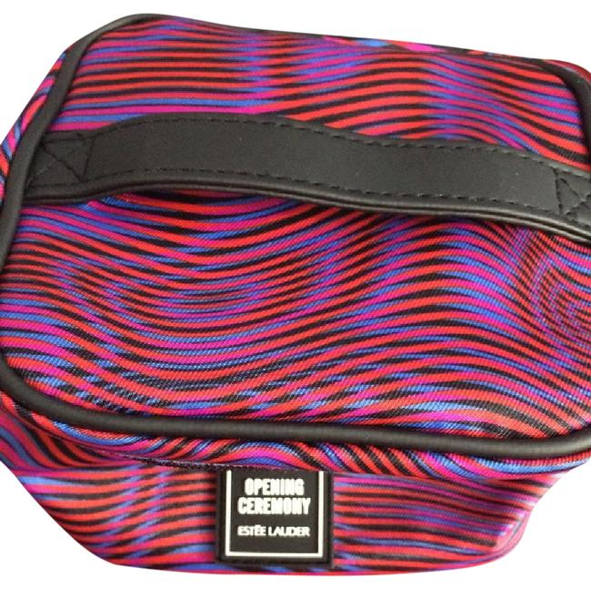 Item - Swirl Of Red Blue and Black Interior Blue Cosmetic Bag